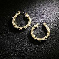 Boucles d'oreilles Creole Doré Anneau Ciselé Mini Perle Blanc 25mm Plaqué Or M5