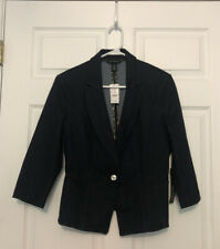White House Black Market Womens Indigo Denim Jacket Pockets L/12