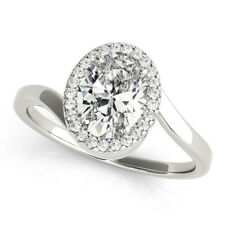 Oval Cut 1.90 Ct Diamond Engagement Solitaire Ring 14K White Gold Rings 7 6.5 8