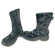 Dr Doc Martens Womens Glossy Black Leather AW500 Zip Up Strap Top Boots 9788