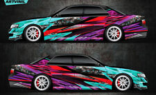 Car Side Full Color Vinyl Sticker Custom Body Decal Abstract Racing Drift Paint