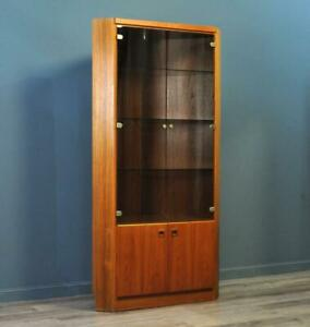 Attractive Large Tall Teak Glazed Corner Display Cabinet With Base Cupboard