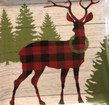 NEW Cynthia Rowley Christmas Reindeer Plaid Pine tree  Melamine Serving Platter