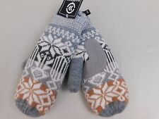 Isotoner Oxford Snowflake Knit SherpaSoft Lined Mittens One Size Gray #5921