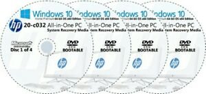 HP 20-c032 All-in-One PC Factory Recovery Media 4-Discs Set / Windows 10 64bit