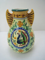 Vintage Japan Porcelain ART POTTERY Hand Painted ROOSTER VASE With WINGS