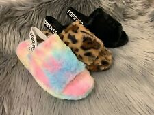 new women slipper fur slides fuzzy warm sandal open toe sling back house shoes