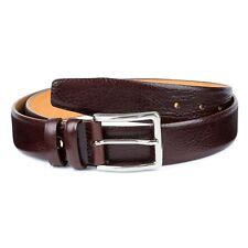 "Cognac leather belt Brown men's belts Genuine cowskin Fashion dress Size 40"""