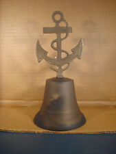 Anchor Table Bell Rope Detail Solid Brass And Antique Patina U.S. Navy Seabees
