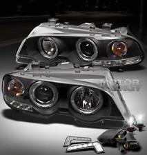 00-03 BMW E46 3 SERIES 2DR/M3 HALO BLACK PROJECTOR HEAD LIGHTs+DRL LED+6000K HID