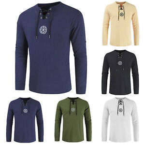 Men's Ancient Viking Embroidery Lace Up V Neck Long Sleeve T-Shirt Top AU STOCK
