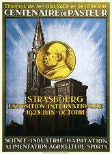 Affiche chemin de fer Alsace Lorraine - Strasbourg exposition 1923