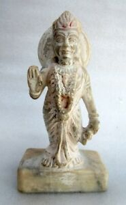 Antique Old Marble Stone Hand Crafted Hindu Money Goddess Laxmi Statue Sculpture