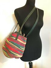 Vintage Sisal Wicker Jute Straw Bucket Basket Bag Leather Handmade Kiondo Raffia