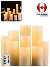 Flameless Candles Battery Operated Candles set of 9 Ivory Real Wax Pillar