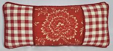 Pillow made w Ralph Lauren Cold Spring Red Floral & Red & Cream Gingham 16x7 NEW