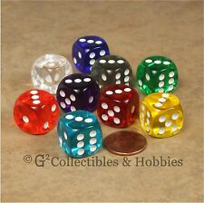 NEW 9 Transparent ROUNDED EDGE Dice Set 9 Colors RPG Bunco Game 16mm D6 Chessex
