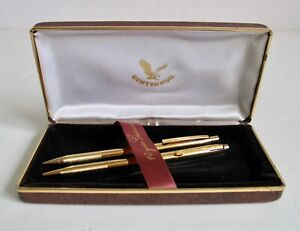 Vintage NOS Centennial Pen Set Gold Tone Pens Precision Writing Instruments NIB