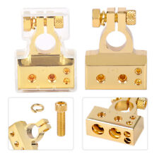 2pcs Gold Plated Positive & Negative 12V Car Battery Terminal Clamp Connector