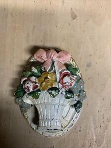Antique HUBLEY #616 Cast Iron Door Knocker French FLOWER Basket ROSES PINK BOW