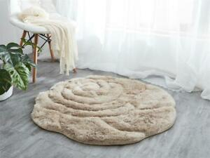 NEW 3D ROSE DESIGN SMALL RUGS NON SLIP BEIGE BEDROOM LIVING GREAT QUALITY MAT