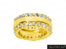 2.40Ct Diamond Split 2-Row Eternity Anniversary Band Ring 14k Yellow Gold G SI1