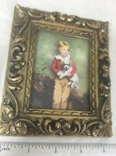 Framed Photo Child With Dog Painting Made In Italy 5x4 Inches