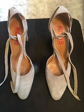Michael Kors Taupe Suede Heels With Ankle Tie Size 8.5
