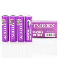 4x Imren 3000mAh 40A IMR 18650 batteries | authentic high drain flat top battery
