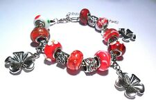 MURANO GLASS BEADS RED WHITE FLOWER EUROPEAN STYLE CHARM BRACELET SILVER TONE