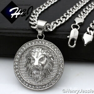 """24""""MEN Stainless Steel 6mm Silver Cuban Curb Necklace Lion Round Pendant*P109"""