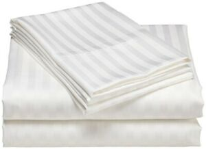 Luxury-USA Bedding All Item & Size Stripe 100% Pima Cotton 1000 TC White