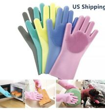 2pc Magic Silicone Washing Gloves Scrubber for Dish Pet Car Kitchen Cleaning