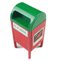 Vintage Dept 56 Snow Village Metal Mailbox - Red Green Miniature Christmas Decor