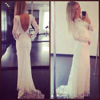 Lace Long Sleeve Wedding Dresses Backless Beach Bridal Gown Custom Plus Size