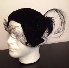 VTG 40s Black FEATHER Velvet FASCINATOR Wedding Gatsby Church HAT Races Derby