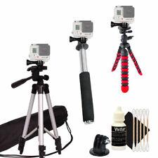 Tall Tripod + Flexible Tripod + Monopod for GoPro Hero Camera +Free Cleaning Kit