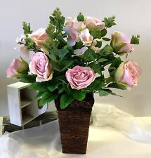 Artificial Silk Flower Arrangement pink rose flowers blue gum green fake roses