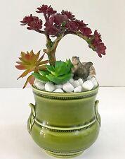 Artificial Grass Succulent Scene With Vintage Squirrel in Green Ceramic Planter