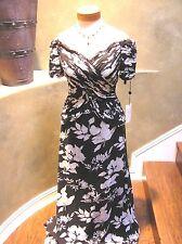 NWOT JOVANI Silk evening formal social cocktail dress gown white/black floral 8