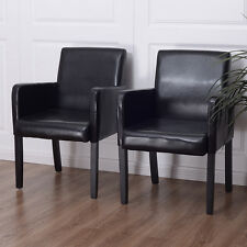 Set of 2 PU Leather Accent Arm Chair Dining Side Chairs Upholstered w/Wood Legs