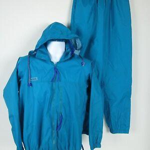 Columbia Womens Teal Blue Nylon Windbreaker Suit Sz M Lined Jacket Pants KL 8030