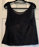 "Vintage Black CAMISOLE Cami Sissy slip top stretch LACE trim bust nylon 38"" Bust"