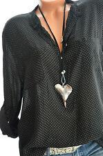 ITALY MODA Tunika gepunktet Hemd DOTS Bluse Fischerhemd 42 44 46 SCHWARZ Neu
