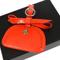 Authentic CHANEL CC Name Tag Key Holder Bag Charm Red Patent Leather AK17474d