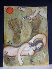 """Marc Chagall / Dessins pour la Bible """"Boaz wakes up."""" Orig. Lithografie v. 1960."""
