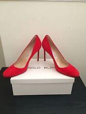 NIB $595 Manolo Blahnik BB Suede Round Toe Pumps 7.5 Red