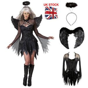 Ladies Adult Dark Fallen Angel Fancy Dress Costume Black Fairy Outfit party UK