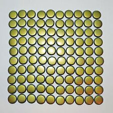 100 Gold Tone Beer / Soda Bottle Caps Unused Uncrimped NEVER Used Brewing Tops
