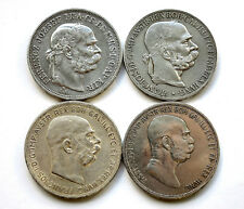4 x 5 Kronen Österreich/Ungarn 1907,08,09 Franz Joseph / 4 verschiedene Var.